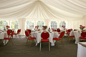 Red themed marquee wedding