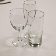 Glassware table and bar